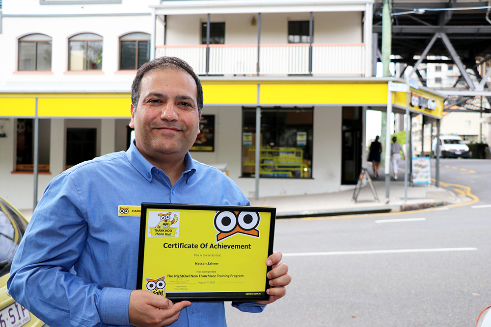 NightOwl toowoomba Hassan with a certificate