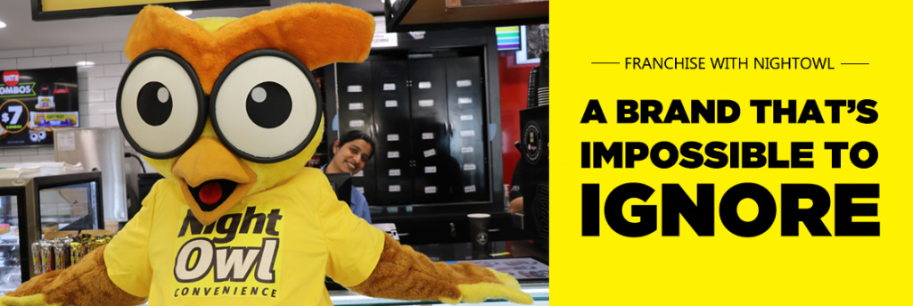 NightOwl Mascot in a franchise store
